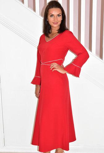 HEIDI HIGGINS 'Freya' Red V-Neck Dress