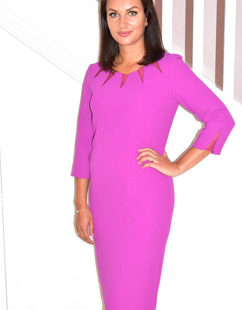 Carla Ruiz Purple Dress With Sheer Detail on Neck