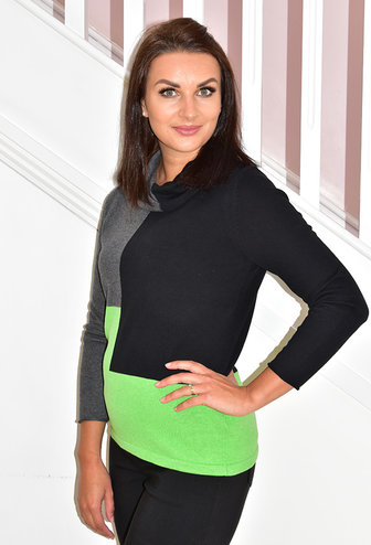 MARBLE Green Block Print Sweater With Large Collar