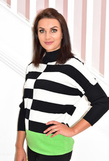 MARBLE Green Striped Knit Pullover With Accent