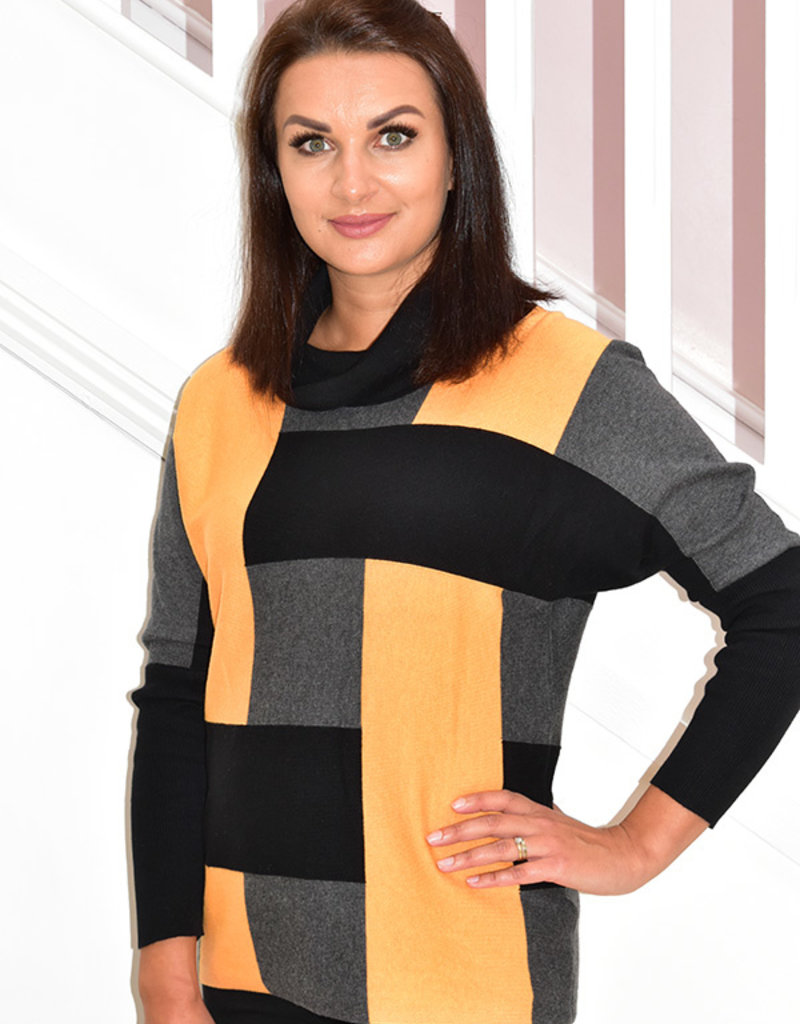 MARBLE Orange Block Print Sweater With Batwing Sleeves