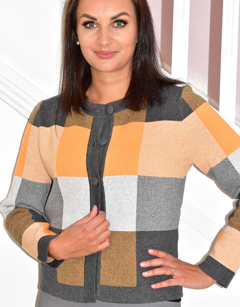 MARBLE Checkered Cardigan With Large Buttons