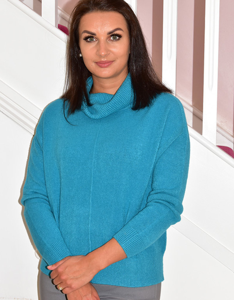 DECOLLAGE Teal Decollage Chunky Knit Sweater With Cowl Neck