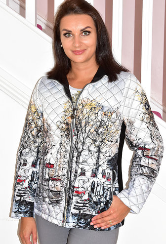 Dolcezza Printed Puff Jacket With Knit Side Panels
