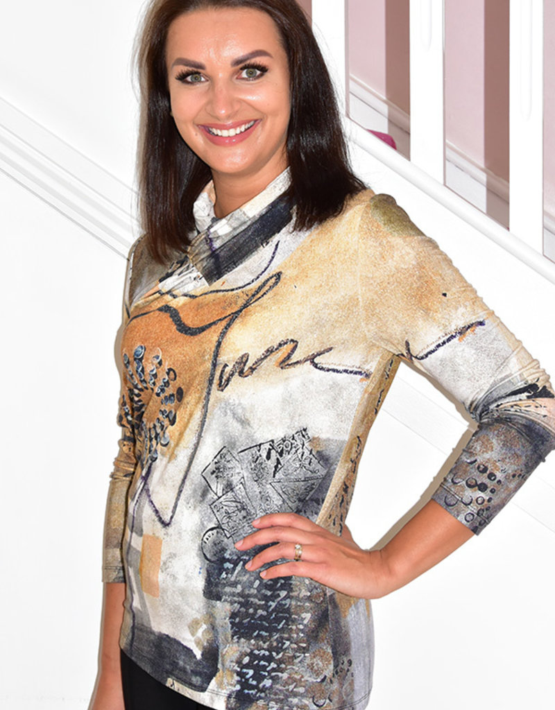 Dolcezza Artistic Print Top With Wrap Collar