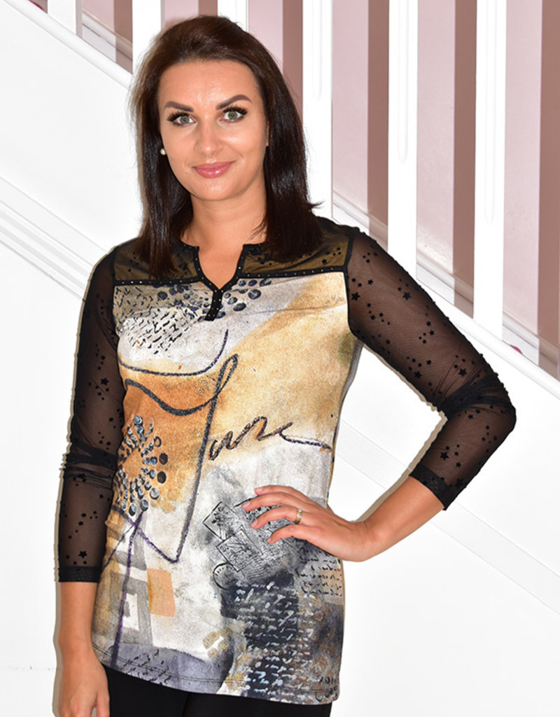 Dolcezza Printed Top With Mesh Sleeves