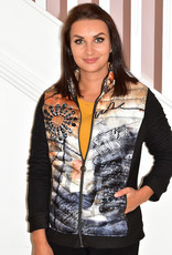 Dolcezza Printed Puff Jacket With Knit Sleeves