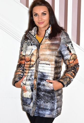 Dolcezza Long Printed Puff Jacket With Hood