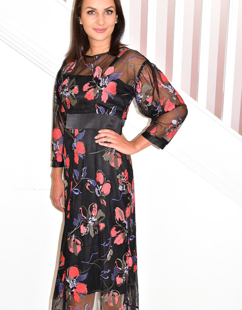 HEIDI HIGGINS 'Alice' Floral Dress With Mesh Detail