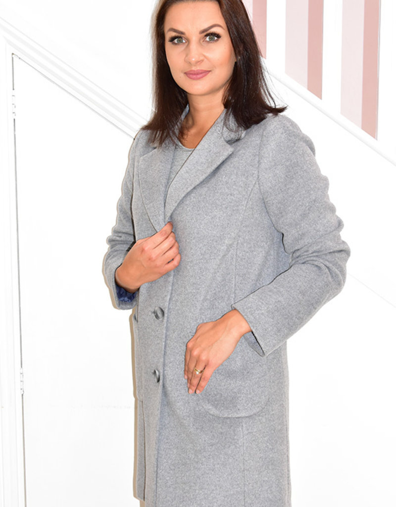 BETTY BARCLAY Grey Wool Coat With Pockets