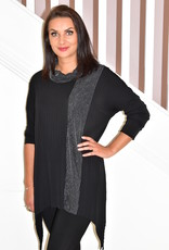 PERSONAL CHOICE (MIC Black Pleated Cowl Neck Tunic