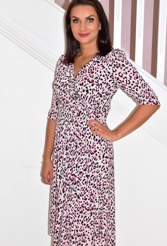 Jolie Moi Pink Leopard Print Faux Wrap Dress