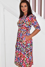 Jolie Moi Multicolour Dress With Ruched Sleeve