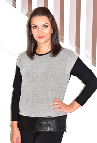 Passioni Grey Pullover With Brooch & Leather Trim