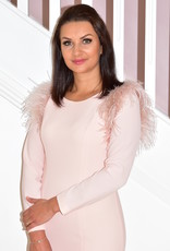 ARGGIDO Pink Dress With Feather Shoulder Detail