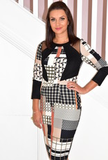 ARGGIDO Geometric Print Dress With Mesh Detail