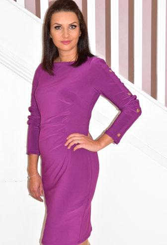 JOSEPH RIBKOFF Purple Dress With Side Pleats & Button Detail