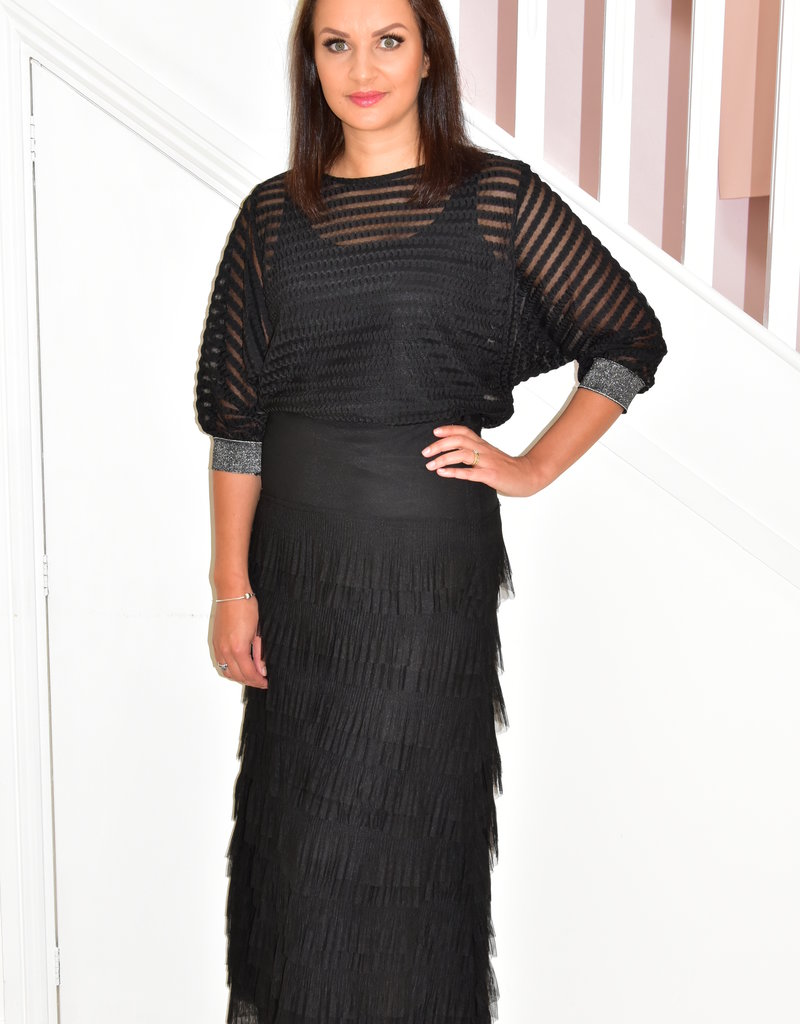 NOT IS NOT Long Black Layered Skirt