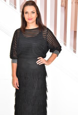 KATE COOPER Black Rippled Top With Silver Cuffs