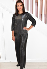 NOT IS NOT 'Monet' Metallic Top With Ribbed Sleeves