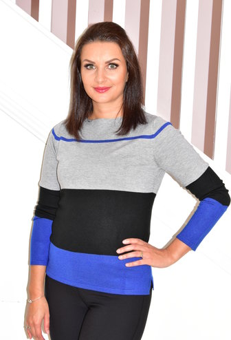BETTY BARCLAY Grey, Black & Blue Striped Pullover