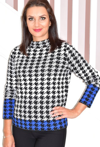 BETTY BARCLAY Houndtooth Pullover With Glitter Trim