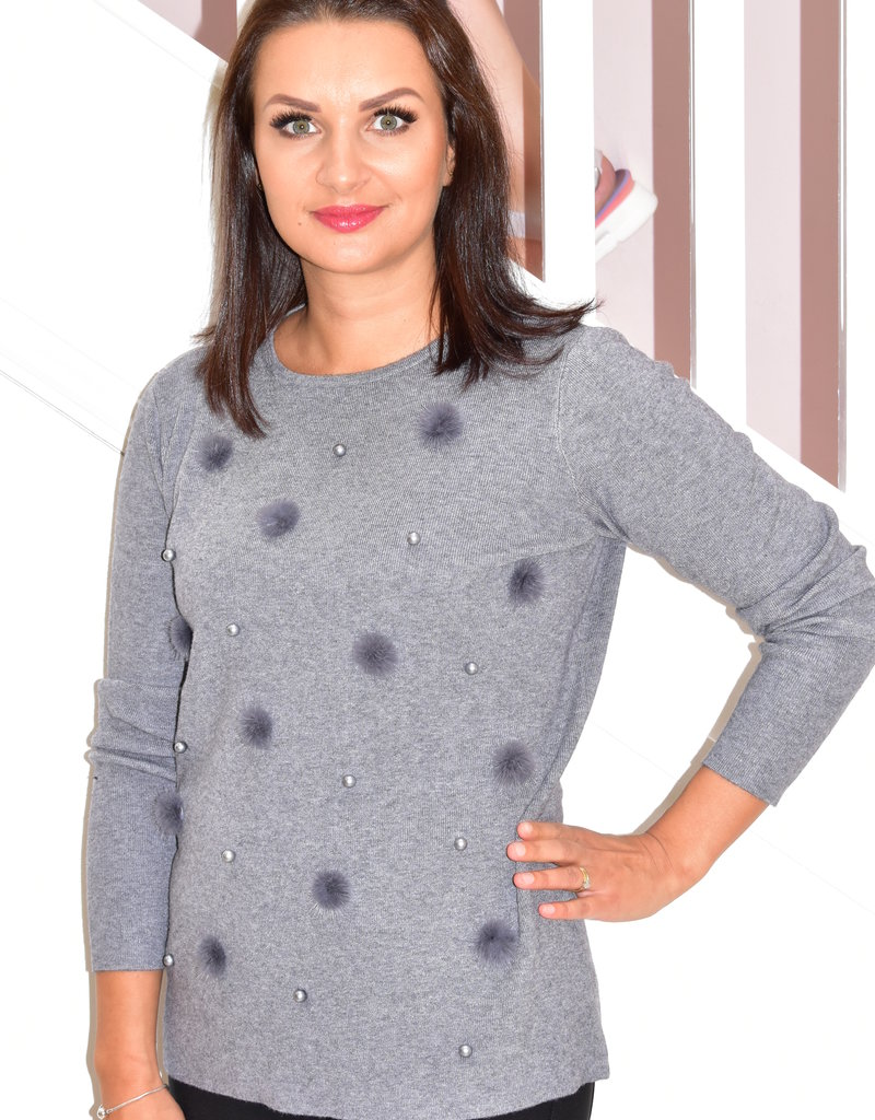 Passioni Grey Pullover With Fur & Bauble Detail