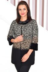 JOSEPH RIBKOFF Leopard Print Coat With Fur Trim