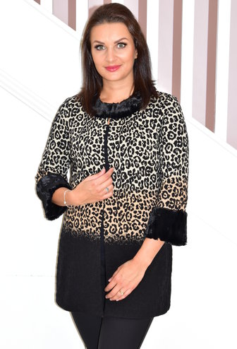 JOSEPH RIBKOFF Leopard Print Coat With Fur Trim