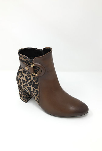 GABOR Leather Ankle Boot With Leopard Print Heel