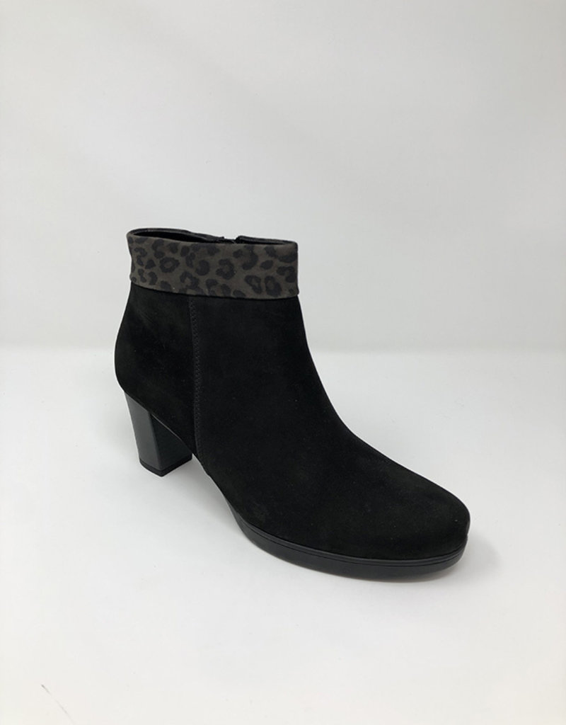 GABOR Black Boot With Leopard Print Trim