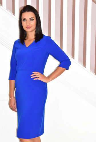 KATE COOPER Blue Long Sleeve V-Neck Dress