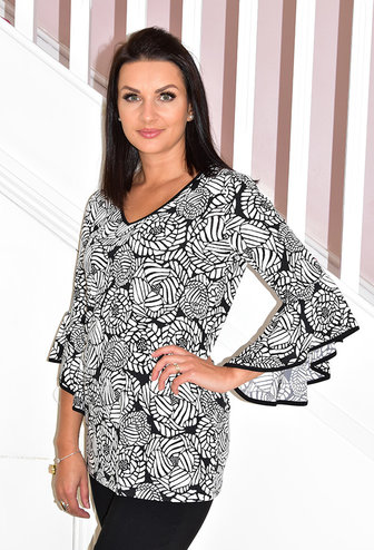 Modes Crystal Floral Print Top With Flared Sleeve