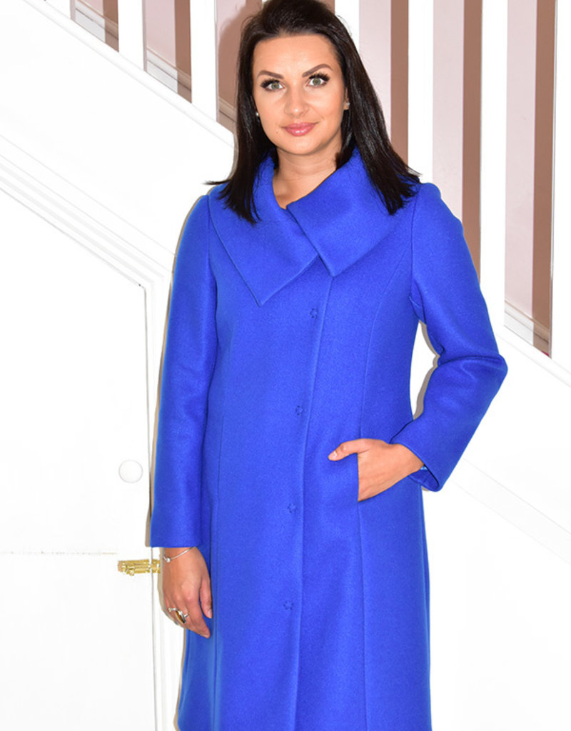 KATE COOPER Blue Coat With Large Collar