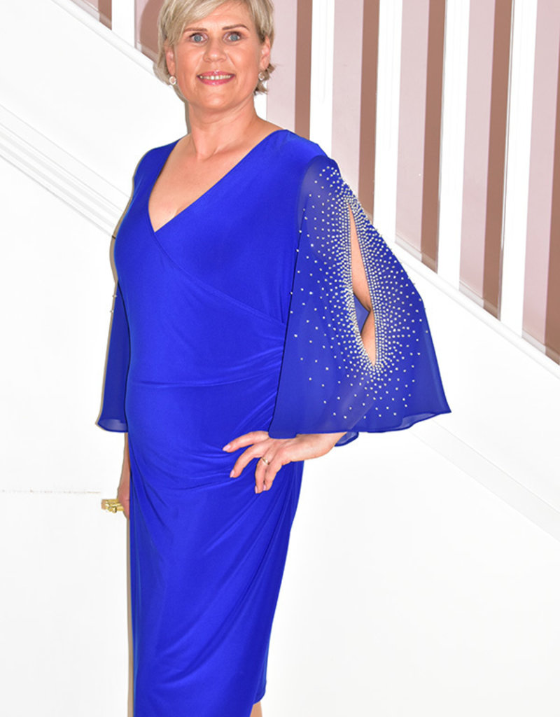 JOSEPH RIBKOFF Wrap Dress With Diamonds On Sleeves