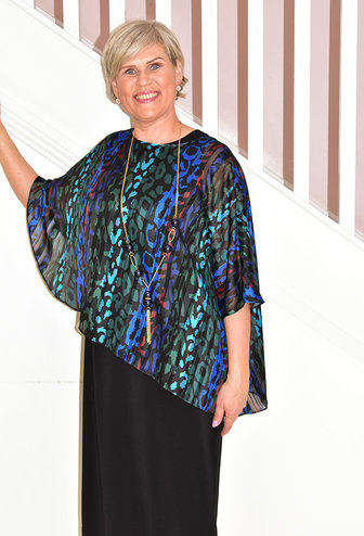 PERSONAL CHOICE (MIC Black Dress With Blue, Red & Green Printed Cape