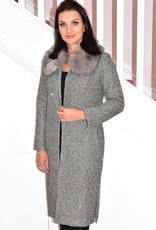 NOT IS NOT 'Picasso' Silver Sequinned Coat With Fur Collar