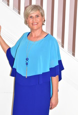 PERSONAL CHOICE (MIC Blue Dress With Chiffon Cape