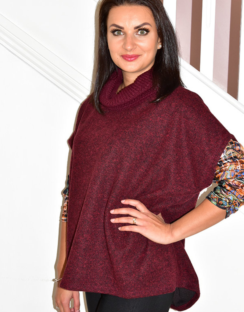 PERUZZI Bordeaux Poncho Knit With Ribbed Collar