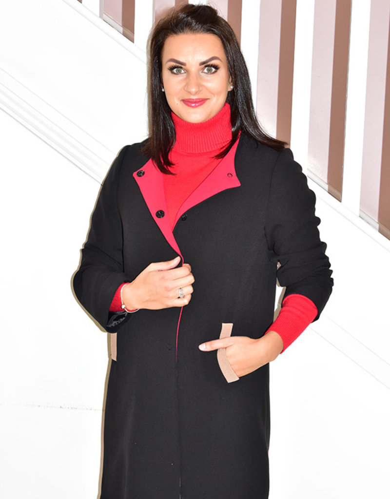 BELLENISA Black Coat With Red Lining