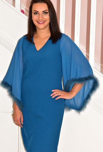 OLIMARA Dress With Cape Sleeves & Fur Trim