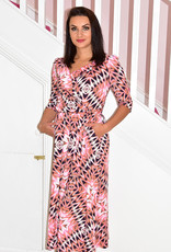 Jolie Moi Maxi Wrap Dress With Reverse Collar