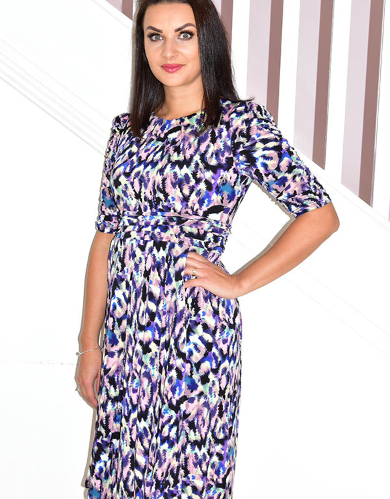 Jolie Moi Printed Midi Dress With Half Sleeves