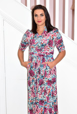 Jolie Moi Floral Long Dress With Ruffled Sleeves