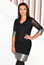 NOT IS NOT 'Da Vinci' Black Tunic With Mesh Sleeves & Sequins