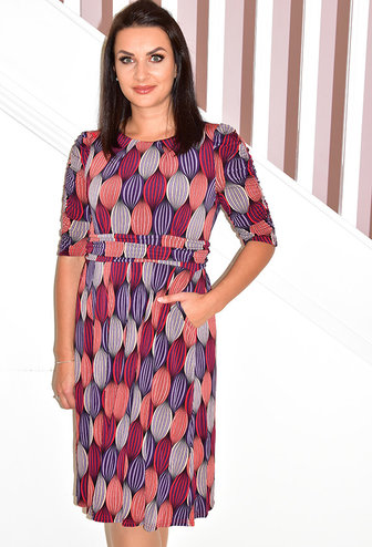 Jolie Moi Print Half Sleeve Midi Dress With Ruched Sleeves