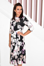 Jolie Moi Roll Collar Floral Belted Midl Dress