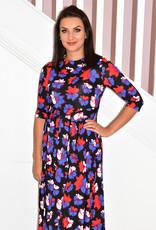 Jolie Moi Roll Collar Belted Midl Dress