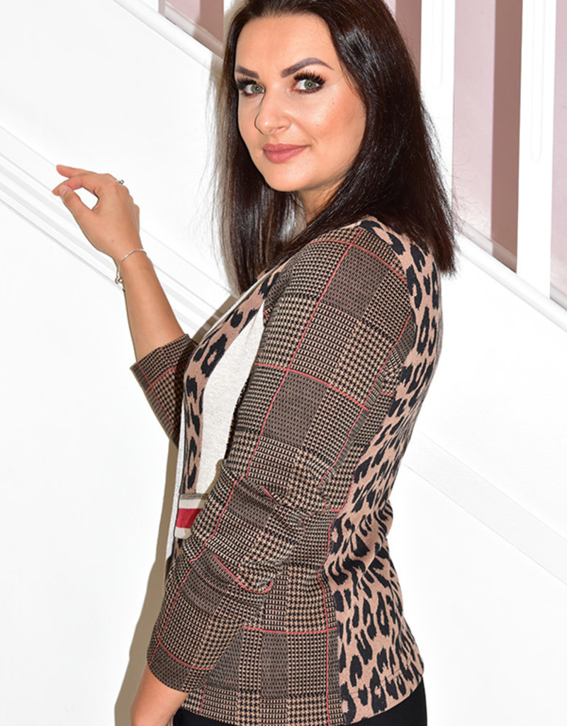 JUST WHITE 2 Piece Leopard/Tweed Jacket With Top