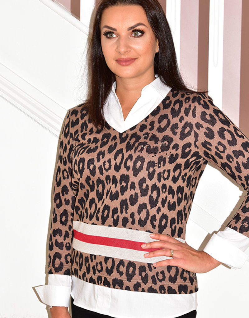 JUST WHITE Leopard Print Jumper With Shirt Affect